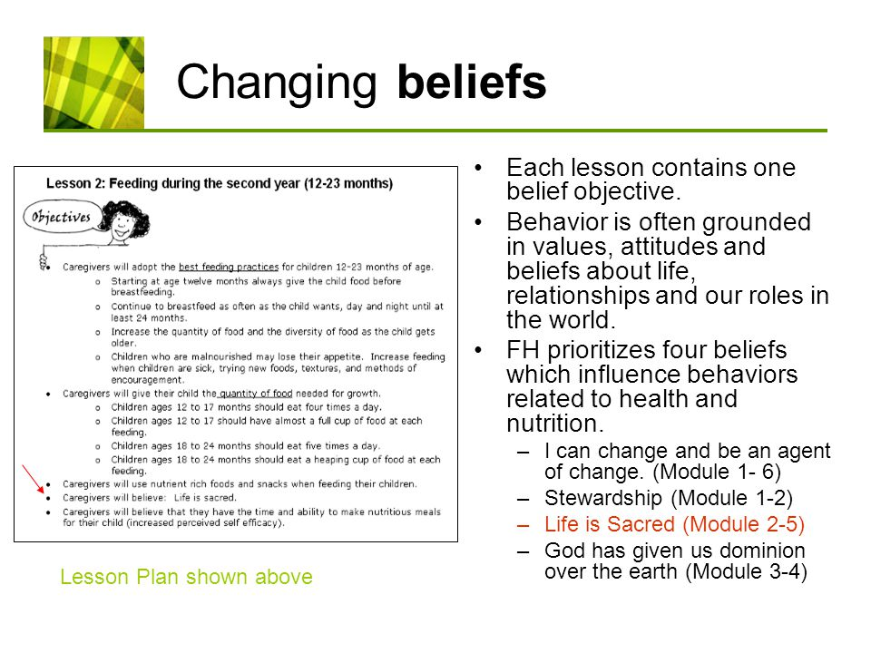Changing beliefs Each lesson contains one belief objective.
