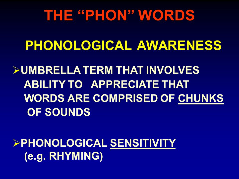 THE PHON WORDS PHONOLOGICAL AWARENESS  PHONOLOGICAL SENSITIVITY (e.g.