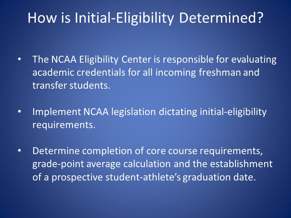 European Baccalaureate Categorization and Grading Scale The committee determined the Eligibility Center shall consider the European Baccalaureate academic credential as a Category One document Approved a grading scale to be used immediately and will be added to the Guide to International Academic Standards for Athletics Eligibility.