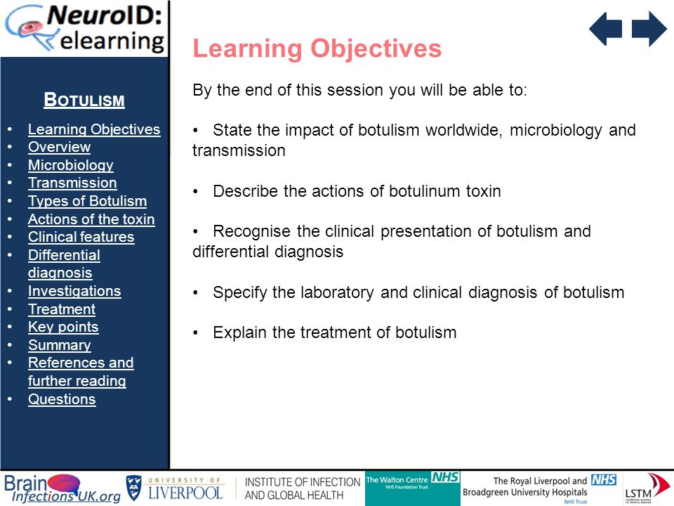 B OTULISM Learning Objectives Overview Microbiology Transmission Types of Botulism Actions of the toxin Clinical features Differential diagnosisDifferential diagnosis Investigations Treatment Key points Summary References and further readingReferences and further reading Questions Question 2 With regards to botulism….