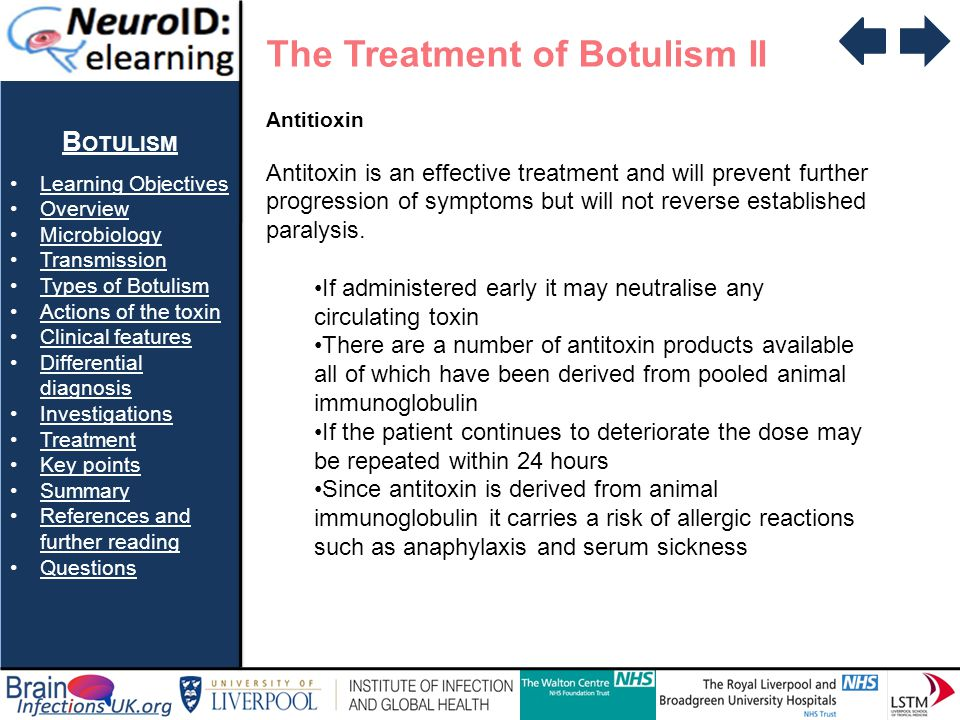 B OTULISM Learning Objectives Overview Microbiology Transmission Types of Botulism Actions of the toxin Clinical features Differential diagnosisDiffer