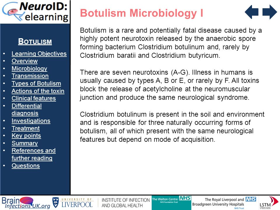 B OTULISM Learning Objectives Overview Microbiology Transmission Types of Botulism Actions of the toxin Clinical features Differential diagnosisDifferential diagnosis Investigations Treatment Key points Summary References and further readingReferences and further reading Questions Botulism Microbiology II Clostridium botulinum – CDC Public Health Image Library #2107