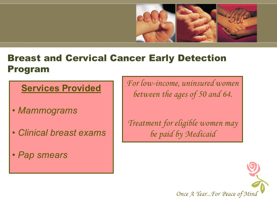 Breast and Cervical Cancer Early Detection Program Once A Year...For Peace of Mind Services Provided Mammograms Clinical breast exams Pap smears For l