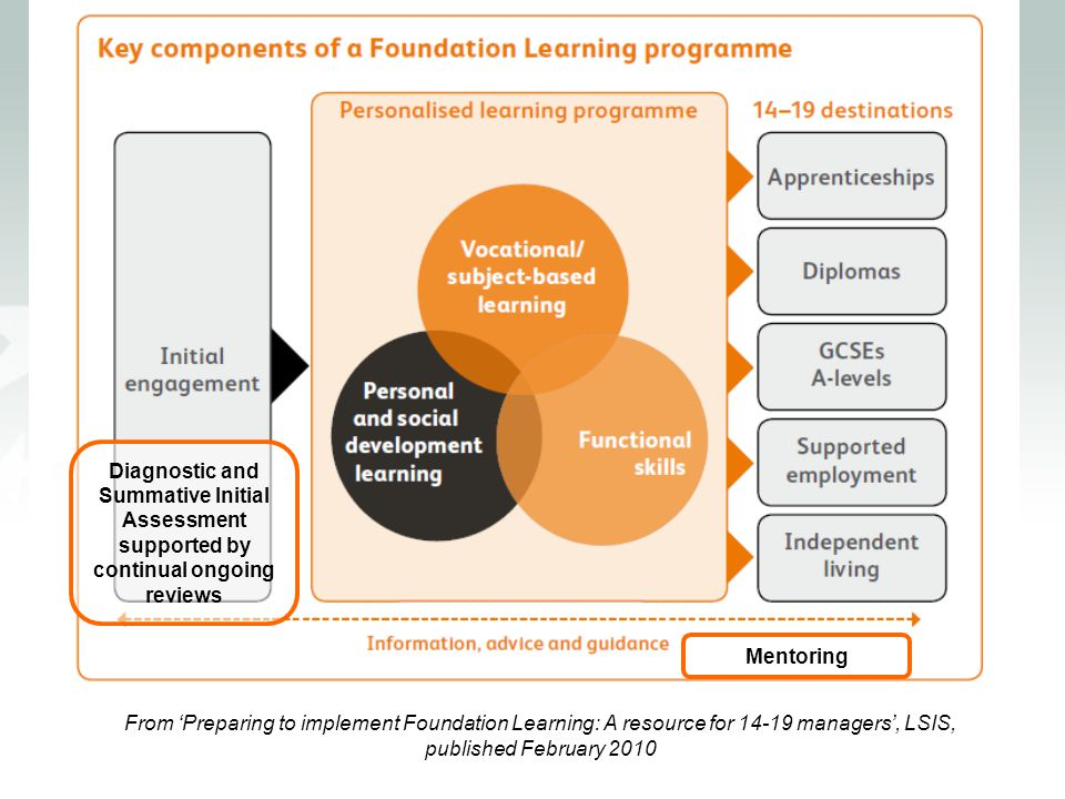 From 'Preparing to implement Foundation Learning: A resource for 14-19 managers', LSIS, published February 2010 Diagnostic and Summative Initial Asses