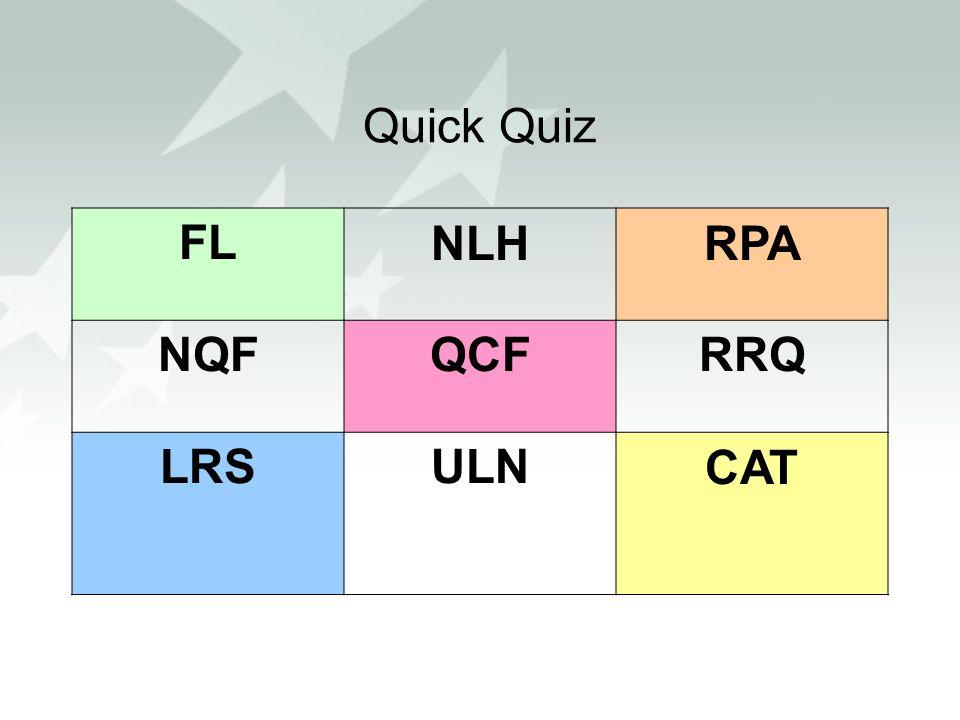 Quick Quiz FLNLHRPA NQFQCFRRQ LRSULNCAT