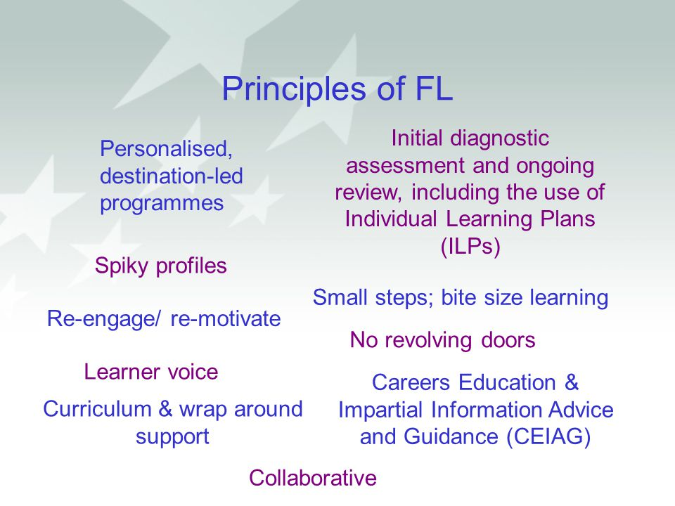 Principles of FL Initial diagnostic assessment and ongoing review, including the use of Individual Learning Plans (ILPs) Personalised, destination-led