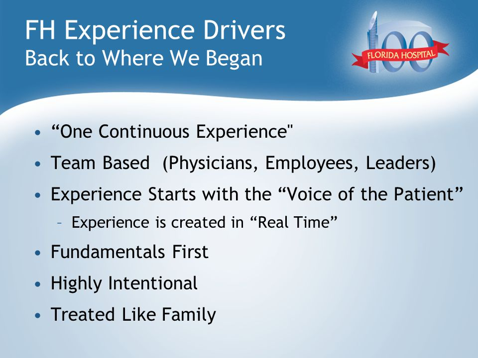 "FH Experience Drivers Back to Where We Began ""One Continuous Experience"
