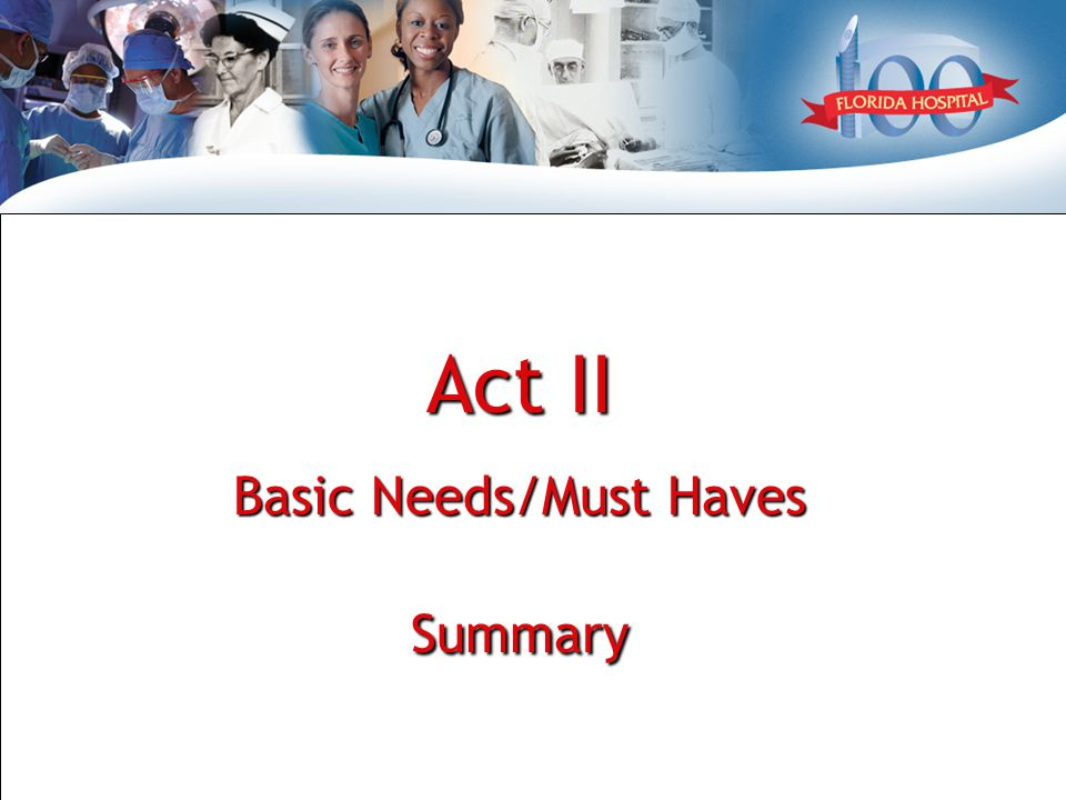Act II - Process Basic Needs / Features ExperienceGroupingRankSub item / Issue ProcessCommunication 1 Expectations set Delays communicated Introduction of caregiver Handoff communication Clinical 2 Pain management Assist in bathroom Medication 5 Rights Medication safety Patient participation Timeliness in treatment Care Coordination 3 Daily schedule – tests, doctor rounding Timely bed availability Involve family and patient Correct place on time Timely nutrition Patient Education 4 Discuss at patient level Include and involve family & patient Discuss care plan & changes Medication education