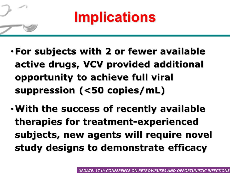 Implications For subjects with 2 or fewer available active drugs, VCV provided additional opportunity to achieve full viral suppression (<50 copies/mL) For subjects with 2 or fewer available active drugs, VCV provided additional opportunity to achieve full viral suppression (<50 copies/mL) With the success of recently available therapies for treatment-experienced subjects, new agents will require novel study designs to demonstrate efficacy With the success of recently available therapies for treatment-experienced subjects, new agents will require novel study designs to demonstrate efficacy