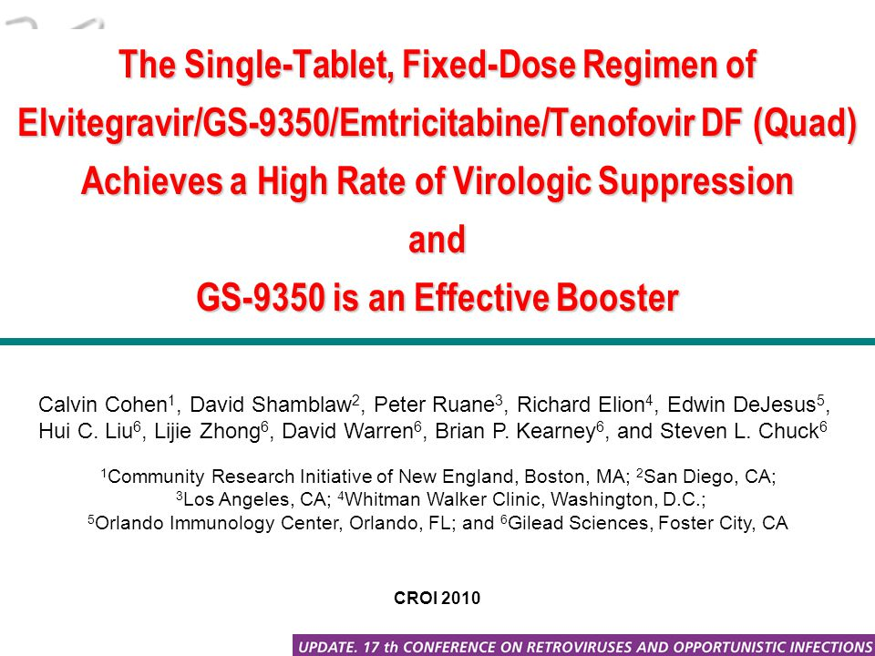 The Single-Tablet, Fixed-Dose Regimen of Elvitegravir/GS-9350/Emtricitabine/Tenofovir DF (Quad) Achieves a High Rate of Virologic Suppression and GS-9