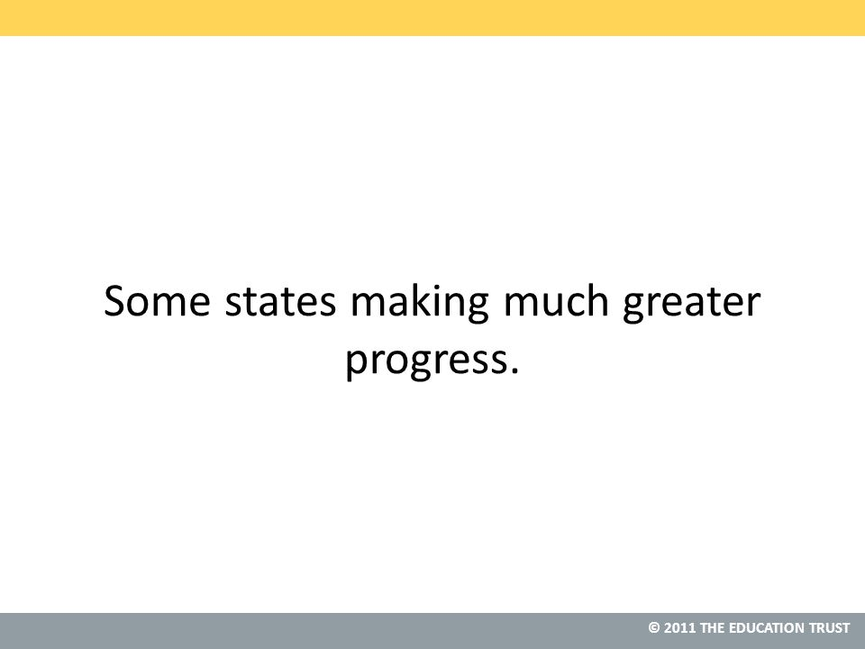 © 2011 THE EDUCATION TRUST Some states making much greater progress.