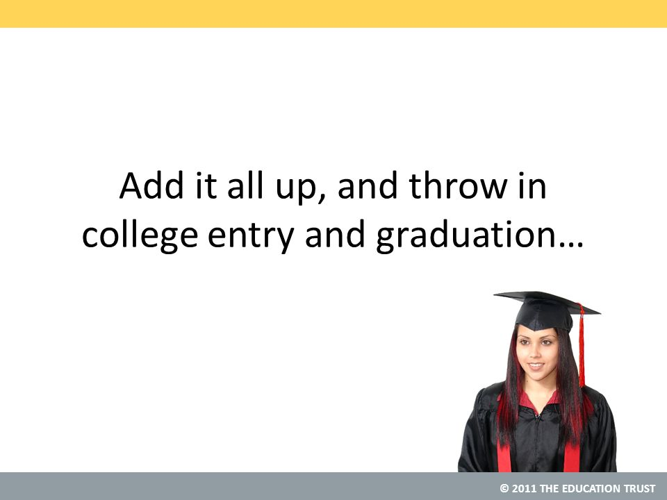 © 2011 THE EDUCATION TRUST Add it all up, and throw in college entry and graduation…