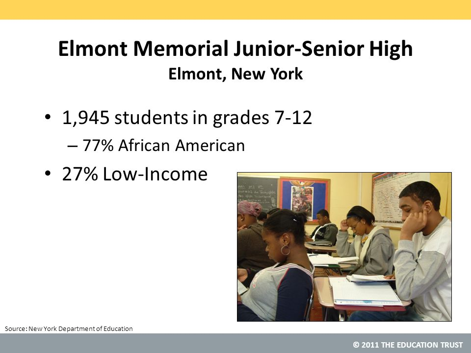© 2011 THE EDUCATION TRUST Source: Elmont Memorial Junior-Senior High Elmont, New York 1,945 students in grades 7-12 – 77% African American 27% Low-Income New York Department of Education