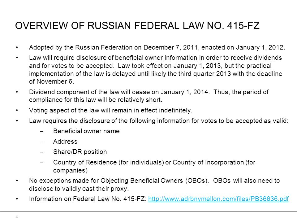 OVERVIEW OF RUSSIAN FEDERAL LAW NO.