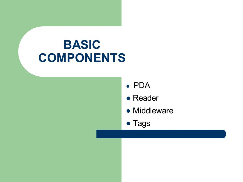BASIC COMPONENTS PDA Reader Middleware Tags
