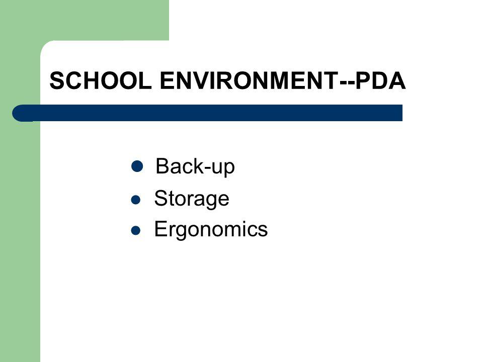 SCHOOL ENVIRONMENT--PDA Back-up Storage Ergonomics