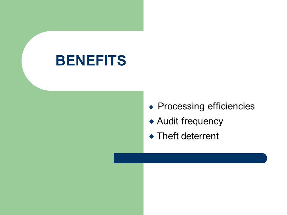 BENEFITS Processing efficiencies Audit frequency Theft deterrent
