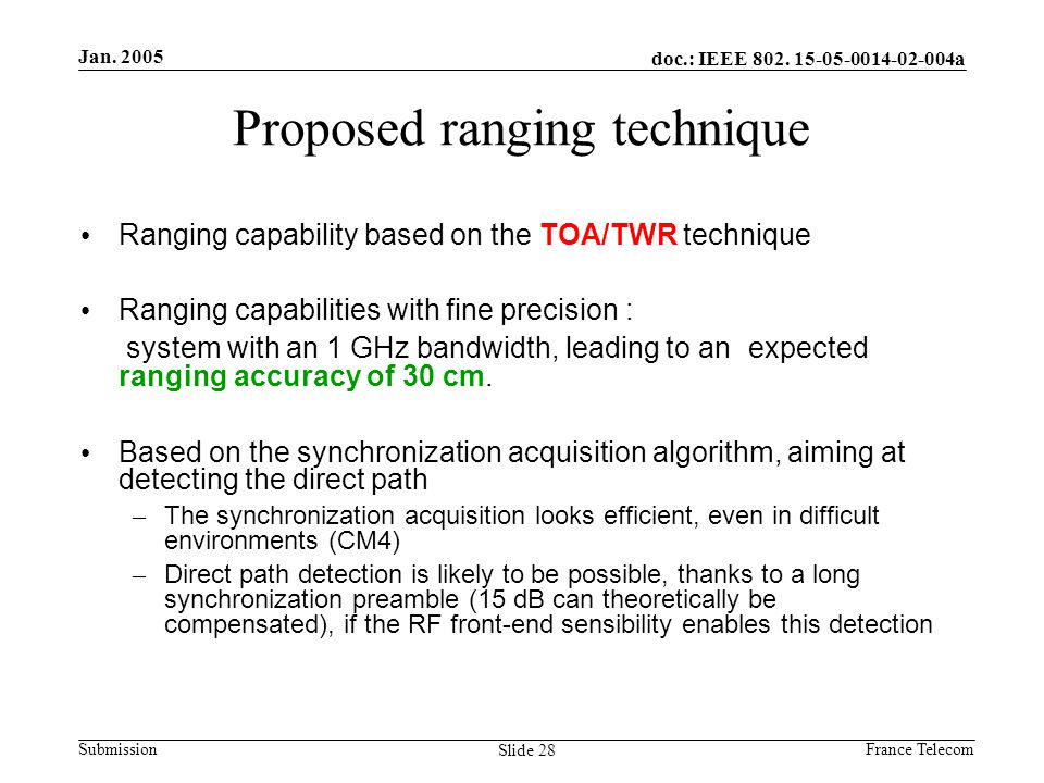 Jan. 2005 France Telecom doc.: IEEE 802. 15-05-0014-02-004a Submission Slide 28 Proposed ranging technique Ranging capability based on the TOA/TWR tec