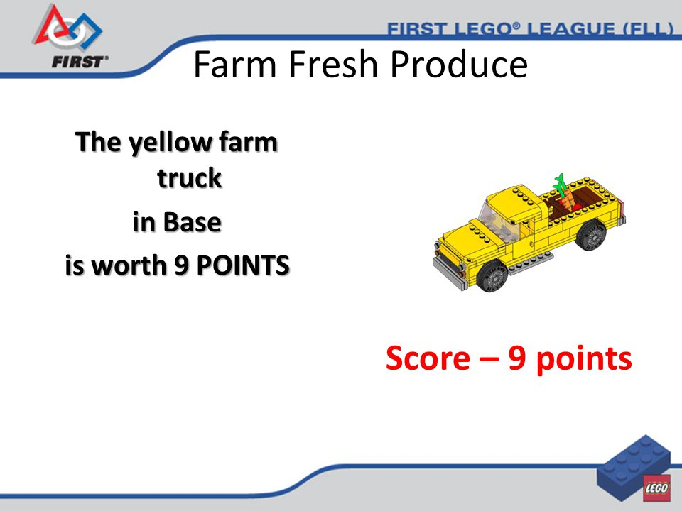 Farm Fresh Produce The yellow farm truck in Base is worth 9 POINTS Score – 9 points