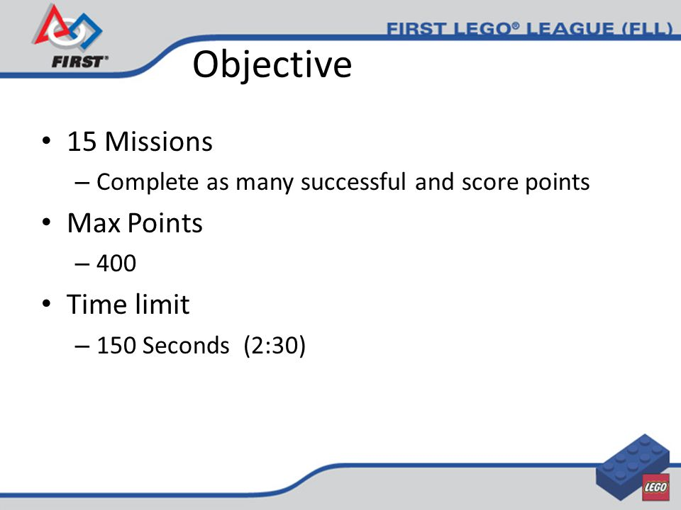 Objective 15 Missions – Complete as many successful and score points Max Points – 400 Time limit – 150 Seconds (2:30)