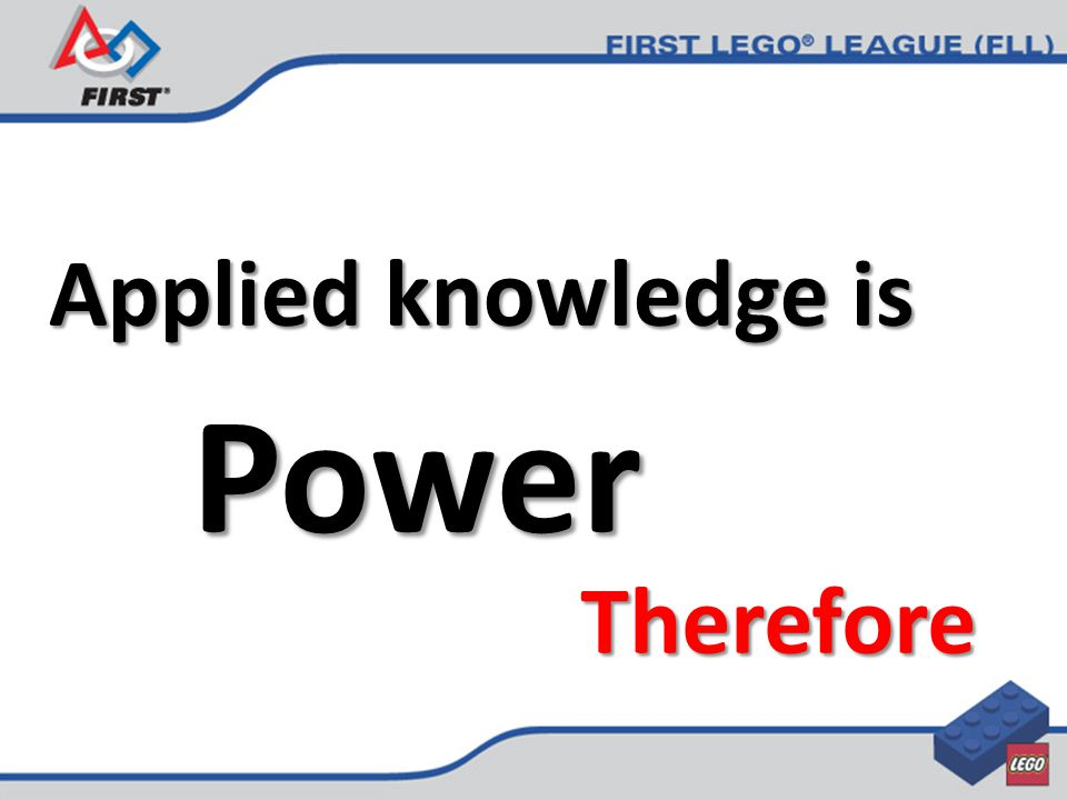 Applied knowledge is Power Therefore