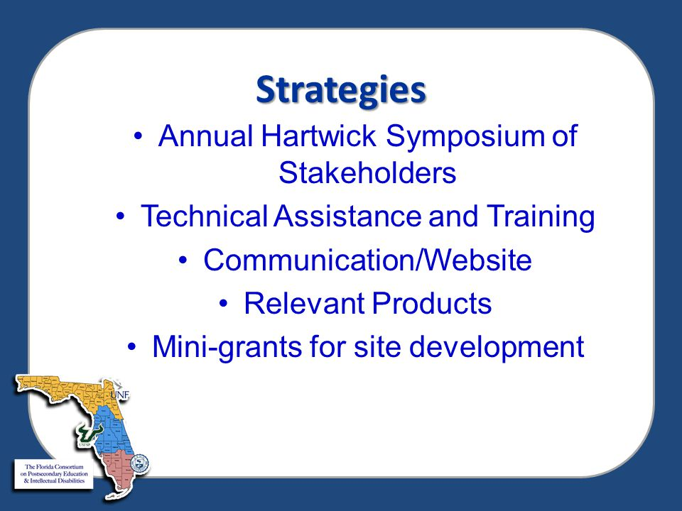 Strategies Annual Hartwick Symposium of Stakeholders Technical Assistance and Training Communication/Website Relevant Products Mini-grants for site development