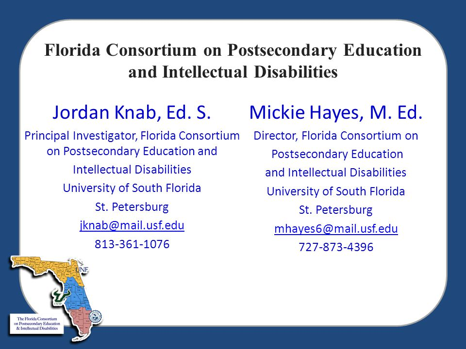 Mini Grants  Florida International University Panther LIFE  Florida State College of Jacksonville Project ACHIEVE  Tallahassee Community College EAGLE Connections  Florida Keys Community College  Santa Fe College