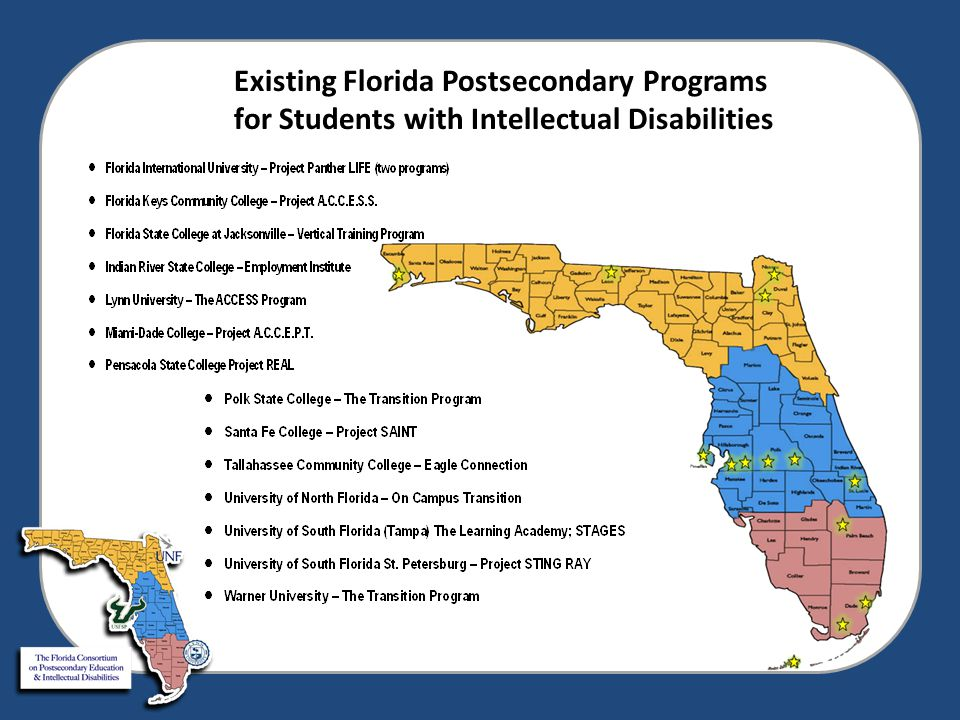 FL Postsecondary Programs All accept special diplomas Majority of students have ID/DD/dd Only 2 can provide housing Serving 192 students for 2013-2014 Avg.