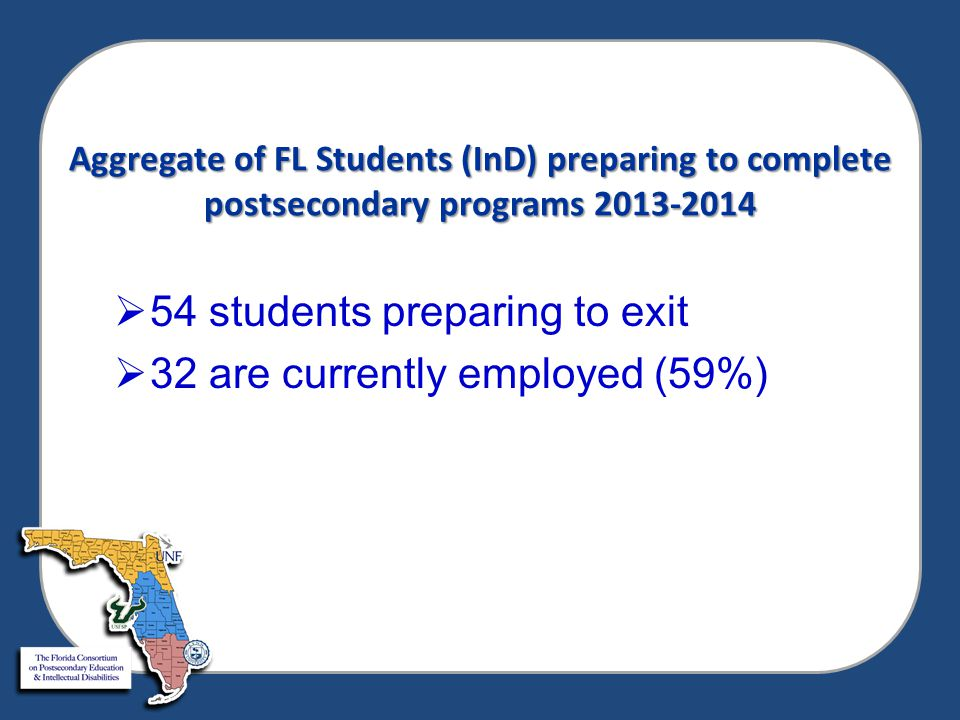 Aggregate of FL Students (InD) preparing to complete postsecondary programs 2013-2014  54 students preparing to exit  32 are currently employed (59%)