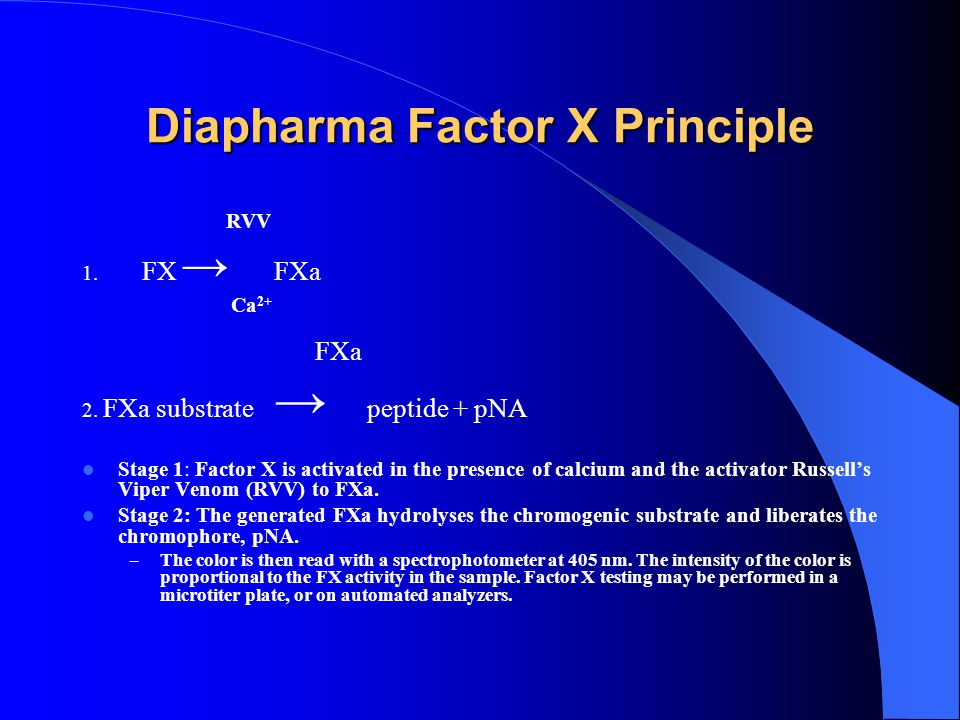 INTRODUCTION: CONTINUED A multi-site and multi-instrument validation of the chromogenic DiaPharma Factor X Assay kit (DFX) was undertaken in order to evaluate the utility of the assay for measuring FX in subjects receiving OAT.