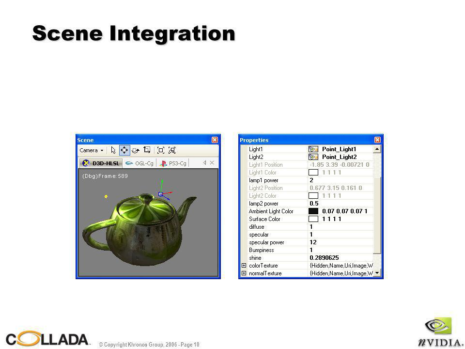 © Copyright Khronos Group, 2006 - Page 11 DEMOS For the Shader author - Compiling, errors, and tasks For the Material artist - 3D panel, properties editor For the Model artists - Library/project explorer, scene bindings to materials