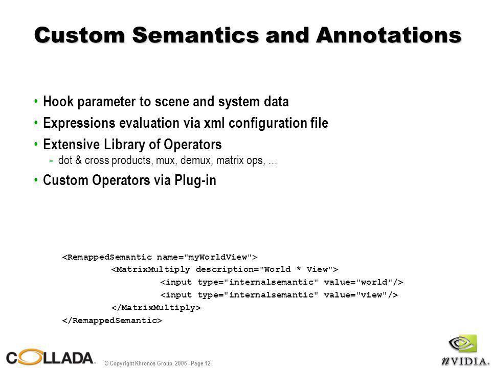 © Copyright Khronos Group, 2006 - Page 12 Custom Semantics and Annotations Hook parameter to scene and system data Expressions evaluation via xml conf
