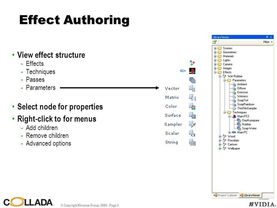 © Copyright Khronos Group, 2006 - Page 9 Effect Authoring View effect structure - Effects - Techniques - Passes - Parameters Select node for properties Right-click to for menus - Add children - Remove children - Advanced options