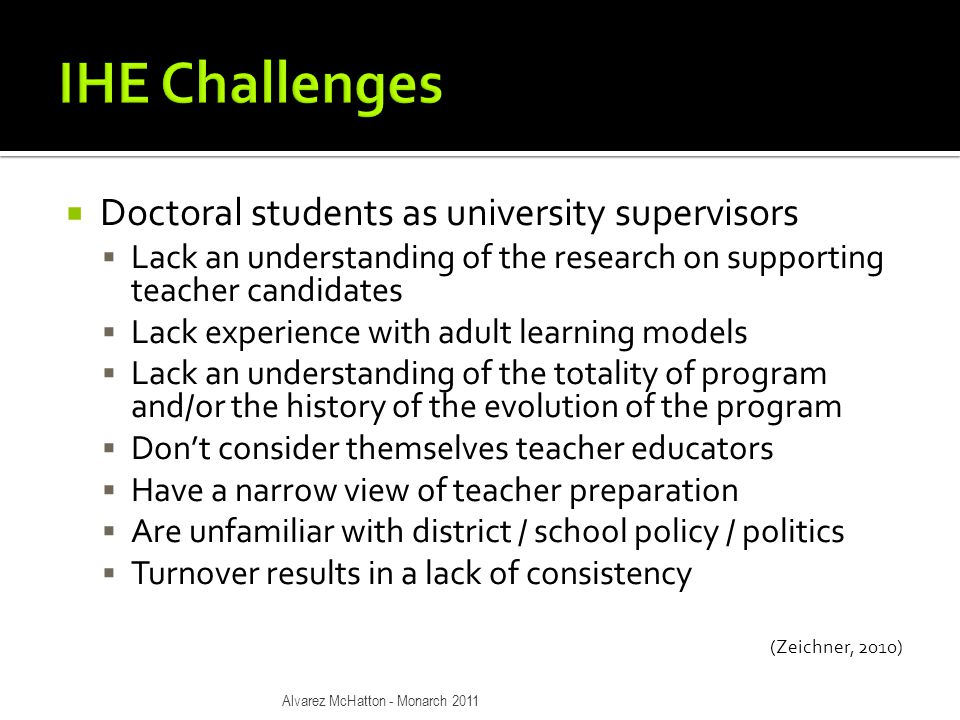  Doctoral students as university supervisors  Lack an understanding of the research on supporting teacher candidates  Lack experience with adult learning models  Lack an understanding of the totality of program and/or the history of the evolution of the program  Don't consider themselves teacher educators  Have a narrow view of teacher preparation  Are unfamiliar with district / school policy / politics  Turnover results in a lack of consistency (Zeichner, 2010) Alvarez McHatton - Monarch 2011