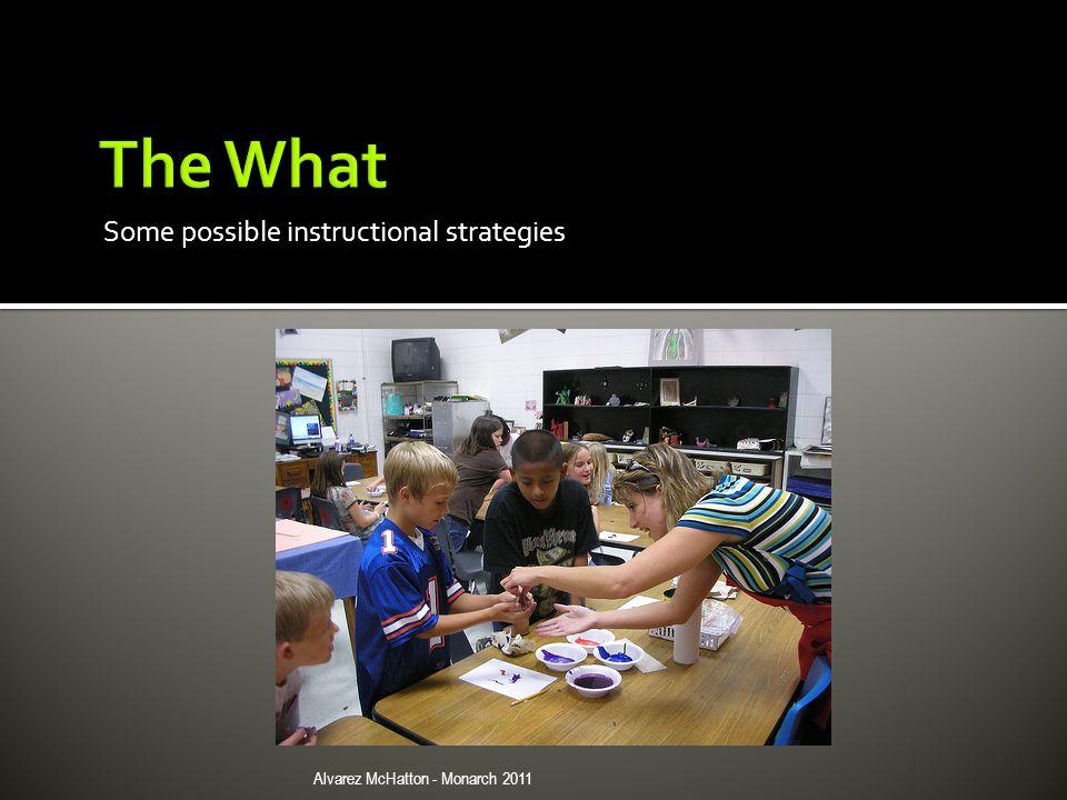 Some possible instructional strategies Alvarez McHatton - Monarch 2011