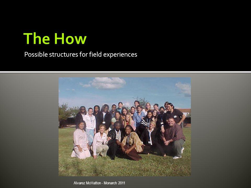 Possible structures for field experiences Alvarez McHatton - Monarch 2011