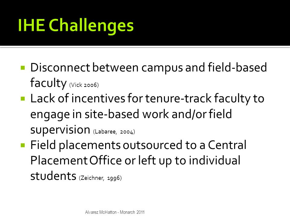  Disconnect between campus and field-based faculty (Vick 2006)  Lack of incentives for tenure-track faculty to engage in site-based work and/or field supervision (Labaree, 2004)  Field placements outsourced to a Central Placement Office or left up to individual students (Zeichner, 1996) Alvarez McHatton - Monarch 2011