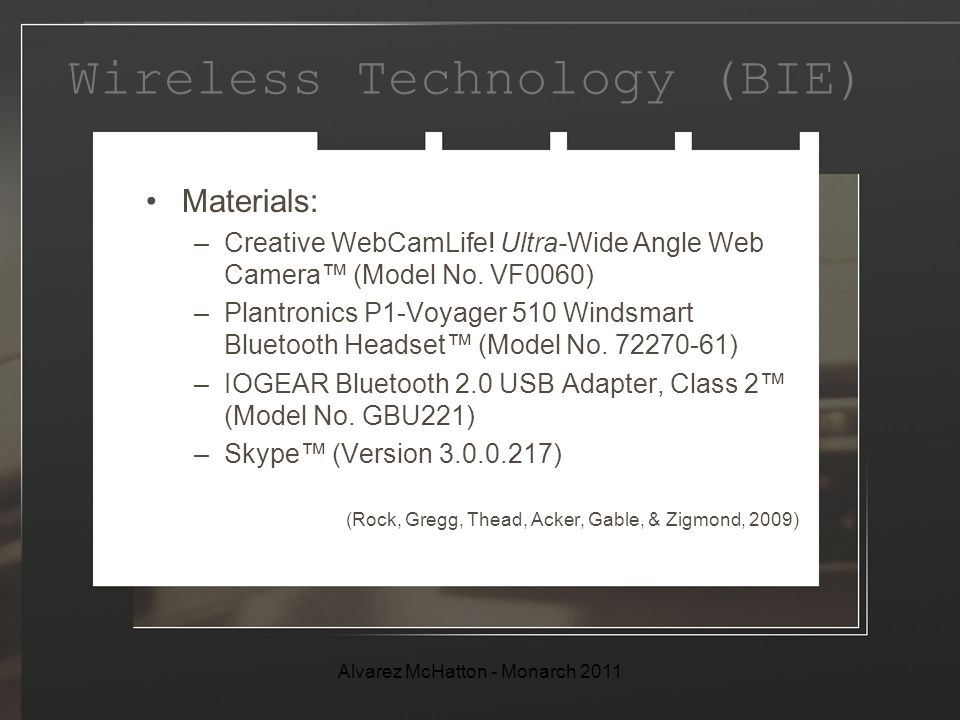 Wireless Technology (BIE) Materials: –Creative WebCamLife.