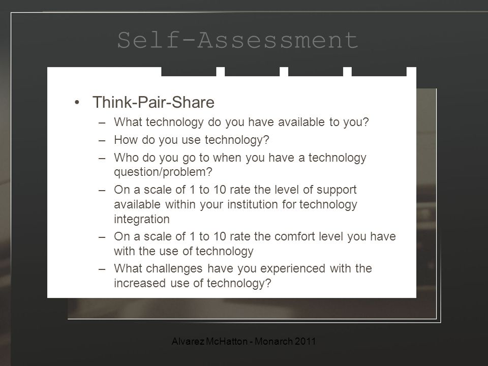 Self-Assessment Think-Pair-Share –What technology do you have available to you.
