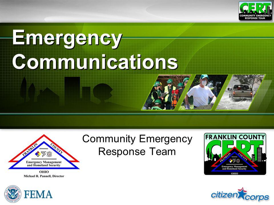 Emergency Communications Community Emergency Response Team