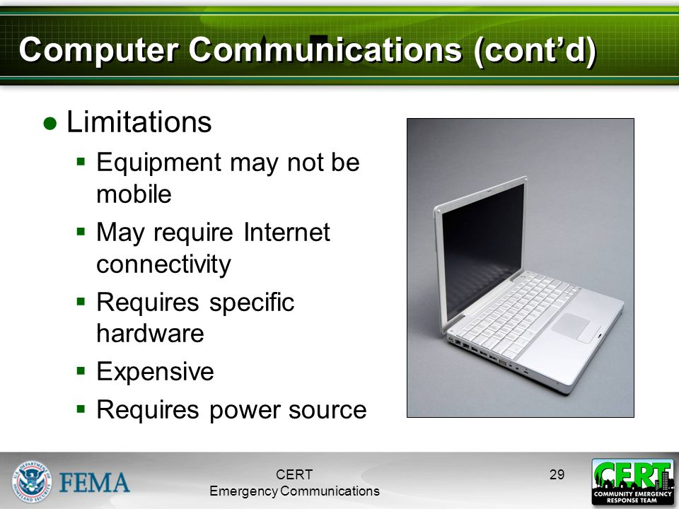 Computer Communications (cont'd) ●Limitations  Equipment may not be mobile  May require Internet connectivity  Requires specific hardware  Expensi
