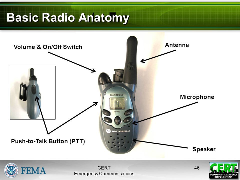 Basic Radio Anatomy CERT Emergency Communications 46 Volume & On/Off Switch Push-to-Talk Button (PTT) Antenna Speaker Microphone