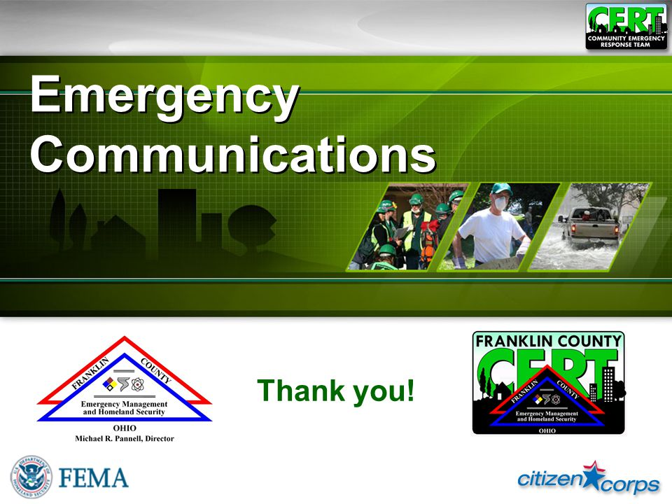 Emergency Communications Thank you!