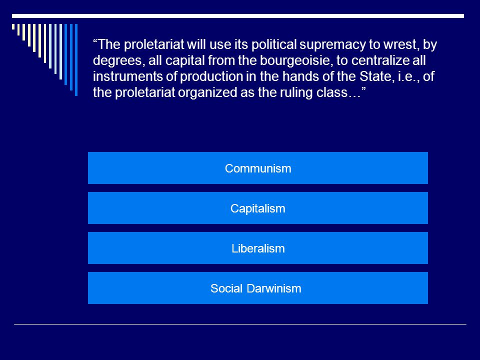"""The proletariat will use its political supremacy to wrest, by degrees, all capital from the bourgeoisie, to centralize all instruments of production"
