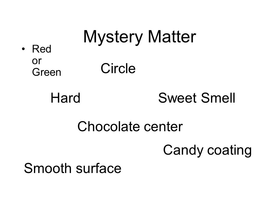 Mystery Matter Red or Green Circle Hard Smooth surface Sweet Smell Candy coating Chocolate center