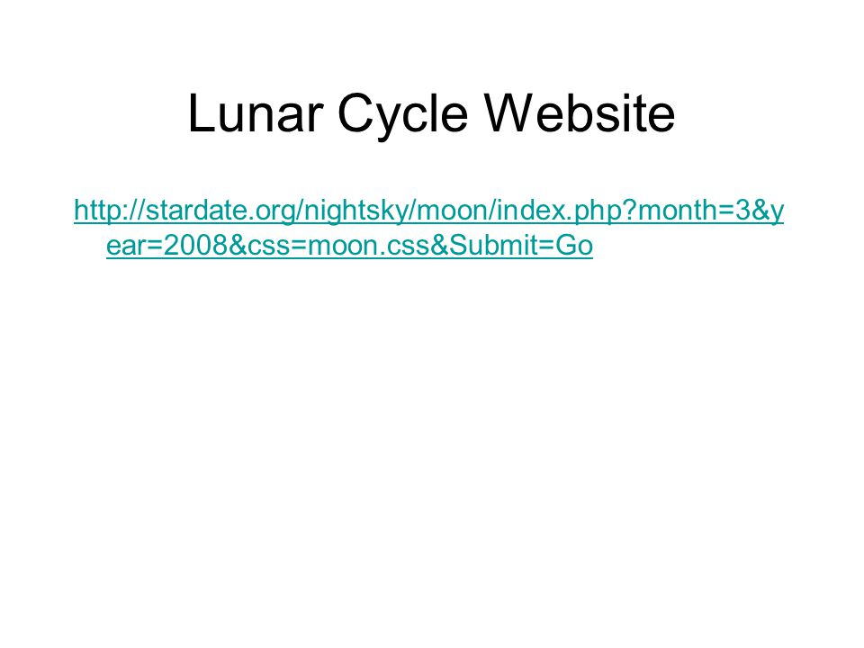 Lunar Cycle Website http://stardate.org/nightsky/moon/index.php?month=3&y ear=2008&css=moon.css&Submit=Go