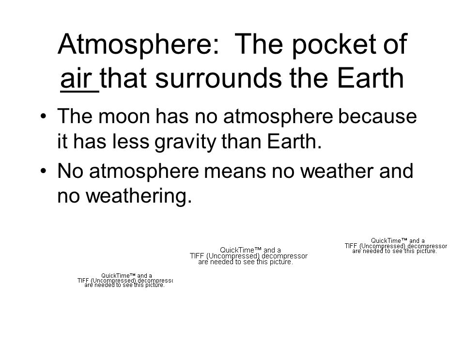 Atmosphere: The pocket of air that surrounds the Earth The moon has no atmosphere because it has less gravity than Earth.