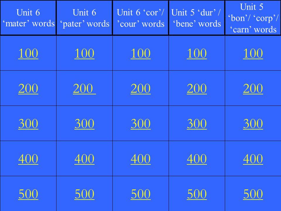 200 300 400 500 100 200 300 400 500 100 200 300 400 500 100 200 300 400 500 100 200 300 400 500 100 Unit 6 'mater' words Unit 6 'pater' words Unit 6 'cor'/ 'cour' words Unit 5 'dur' / 'bene' words Unit 5 'bon'/ 'corp'/ 'carn' words