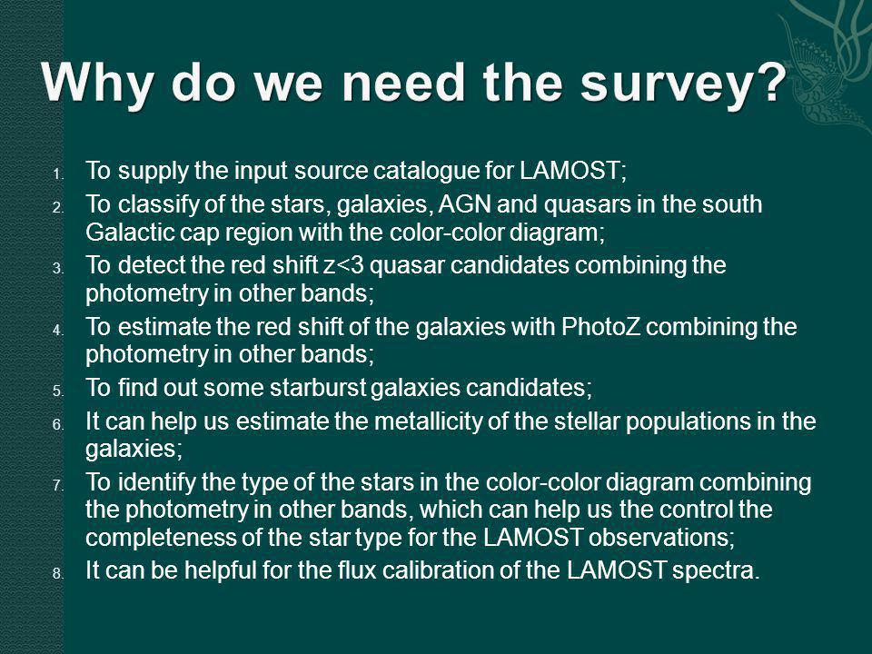 1. To supply the input source catalogue for LAMOST; 2.
