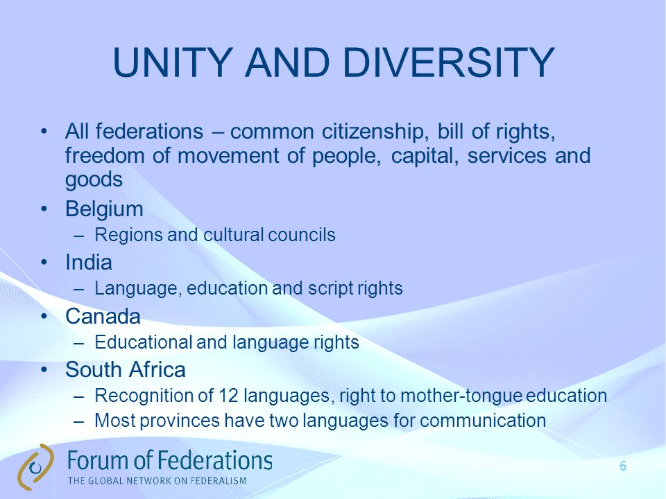 UNITY AND DIVERSITY All federations – common citizenship, bill of rights, freedom of movement of people, capital, services and goods Belgium –Regions and cultural councils India –Language, education and script rights Canada –Educational and language rights South Africa –Recognition of 12 languages, right to mother-tongue education –Most provinces have two languages for communication 6